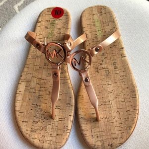 NEW Michael Kors Rose Gold Cork Sandals Size 10